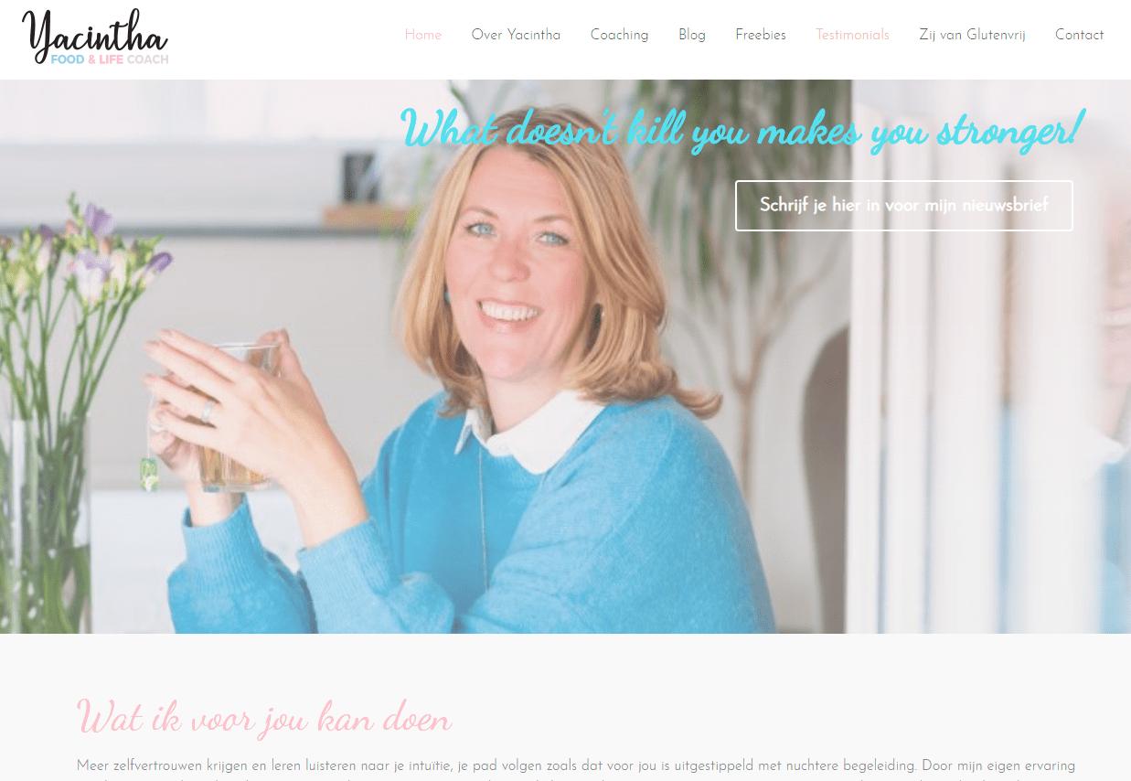 nieuwe website Yacintha Food & Life coach Google preview